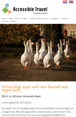 Blogpost mentioning accessaloo by Accessible Travel Netherlands